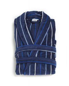Badjas Heren blauw met smalle  streepjes , velours 100% katoen SPECIALE PRIJS