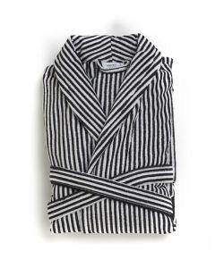 Badjas Heren zwart met wit streepje , velours 100% katoen SPECIALE PRIJS