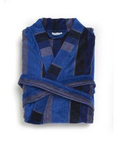 Badjas Heren blauw met grijs gestreept. , velours 100% katoen SPECIALE PRIJS