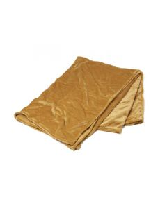 Plaid Fleece Uni gold, oker geel  150x200, Deken voor op de bank , bed of picknick kleed