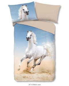 Dekbedovertrek Wit  Paard, pony     140x200/220