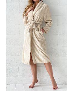 Super zachte badjas met zigzag in de kleur ecru, naturel fleece badjas,  SPECIALE PRIJS