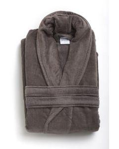 Badjas mooie uni  velours  badstof katoen in de kleur donker grijs