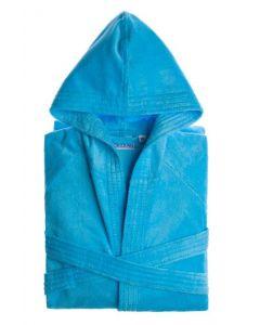 Velours badjas met capuchon kleur Aqua Blauw