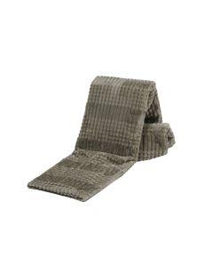 Plaid Fleece monaco kleur, grijs taupe 150x200, Deken voor op de bank , bed of picknick kleed