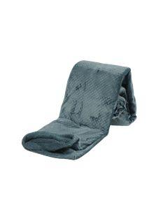 Plaid Fleece Uni ,  in petrol blauw met vacht 150x200, Deken voor op de bank , bed of picknick kleed