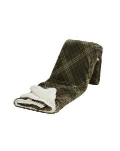 Plaid Fleece Bo, ruit in groen met vacht 150x200, Deken voor op de bank , bed of picknick kleed