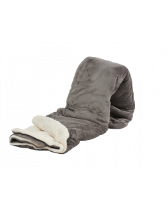 Plaid Fleece Uni ,  in licht grijs met vacht 150x200, Deken voor op de bank , bed of picknick kleed