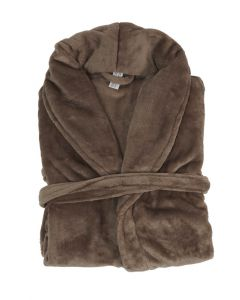 Super zachte badjas in de kleur taupe  fleecebadjas,  SPECIALE PRIJS