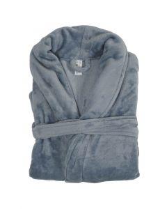 Super zachte badjas in de kleur Blauw , Ardoise  fleece badjas,  SPECIALE PRIJS