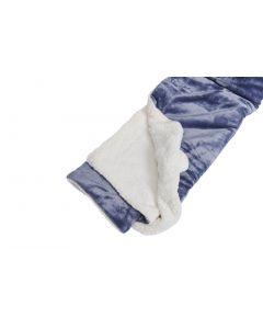 Plaid Fleece Uni ,  in denim blauw met vacht 150x200, Deken voor op de bank , bed of picknick kleed