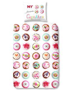 Dekbedovertrek met kleine cakejes, cupcakes  140x200/220 my favourite cupcake