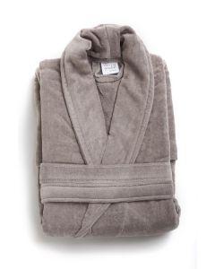 Badjas mooie uni  velours  badstof katoen in de kleur grijs