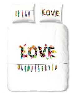 Love   dekbedovertrek  met veertjes en bloemen en vinders 100% katoen ibiza , hippy boho style
