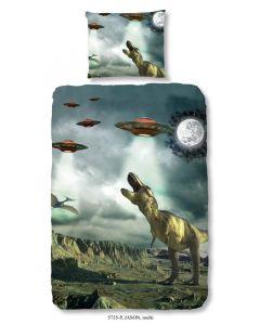 """Dekbedovertrek Dino's en Ufo""""s  140x200/220 incl sloop 60x70"""