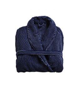 Badjas Heren Donker blauw met een wit streepje , velours 100% katoen SPECIALE PRIJS