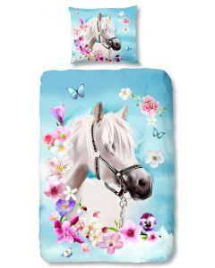 schimmel, wit paard of pony met bloemen dekbedovertrek