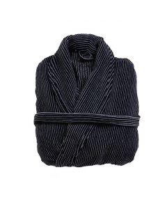 Badjas Heren Zwart met een wit streepje , velours 100% katoen SPECIALE PRIJS