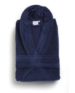 Badjas mooie uni  velours  badstof katoen in de kleur donker blauw