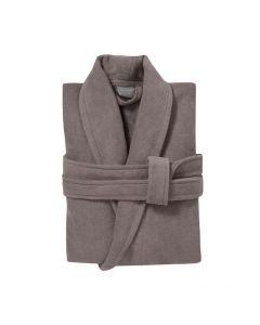 badjas met sjaalkraag Pure cement  taupe 100% katoen velours met badstof