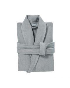 badjas met sjaalkraag Pure licht grijs, glacier 100% katoen velours met badstof
