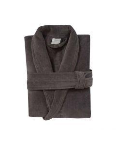 badjas met sjaalkraag Pure basalt grijs 100% katoen velours met badstof