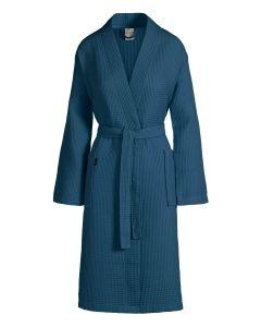 Zomer badjas Biarritz kleur donker blauw 100% wafel katoen  Van Dijck