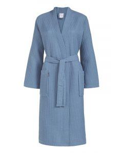 Zomer badjas Biarritz kleur blauw 100% wafel katoen  Van Dijck
