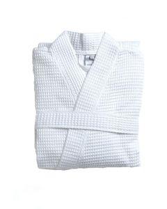 Zomer badjas Biarritz kleur wit 100% wafel katoen  Van Dijck
