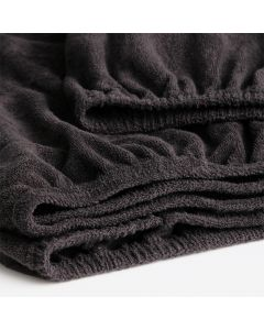 Hoeslaken Cinderella  badstof  in de kleur donker grijs  voor matrassen tot 30 cm dik