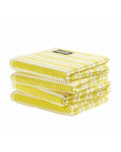 DDDDD vaatdoek 30 x 30 Gestreept  fel geel  per 4 stuks