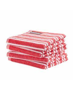 DDDDD vaatdoek 30 x 30 Gestreept rood  per 4 stuks