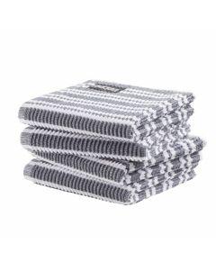 DDDDD vaatdoek 30 x 30 Gestreept donker grijs  per 4 stuks