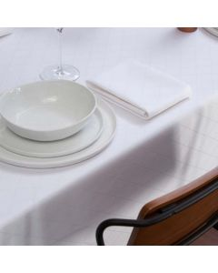 Tafelkleed Rombus, damast katoen, kleur wit ,DDDDD, tafellaken