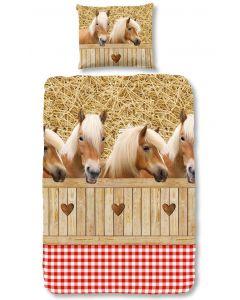 bruine paarden , pony, ponies, vos, zweetvos  dekbedovertrek  ponies achter een hek