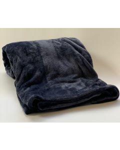 Plaid Fleece Uni night blue, donker blauw 150x200, Deken voor op de bank , bed of picknick kleed