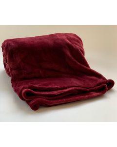 Plaid Fleece Uni wijn rood 150x200, Deken voor op de bank , bed of picknick kleed