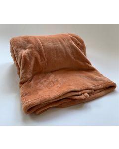 Plaid Fleece Uni Abrikoos fudge 150x200, Deken voor op de bank , bed of picknick kleed