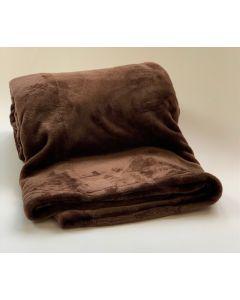 Plaid Fleece Uni chocolade bruin 150x200, Deken voor op de bank , bed of picknick kleed