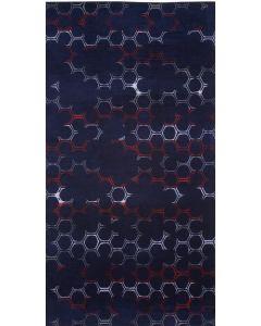 Strandlaken Hexa grafisch dessin in navy blauw, rood en  wit  100x180 100% katoen  velours