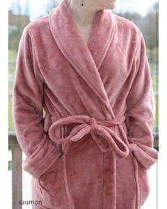 Super zachte badjas in de kleur dusty rose ,saumon fleecebadjas,  SPECIALE PRIJS