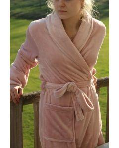 Super zachte badjas in de kleur Poeder, zacht rose  fleecebadjas,  SPECIALE PRIJS