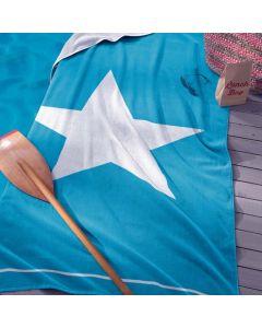Strandlaken Star , ster  aqua blauw 100x180 100% katoen velours Seahorse