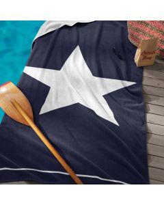 Strandlaken Star , ster marine blauw 100x180 100% katoen velours Seahorse
