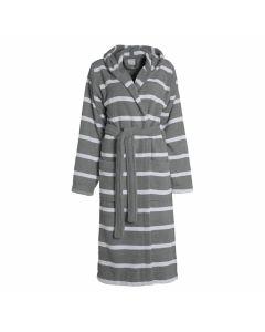 Gestreepte Badjas met capuchon  Seahorse Menton in de kleur donker grijs, graphit  100% mooie badstof  katoen