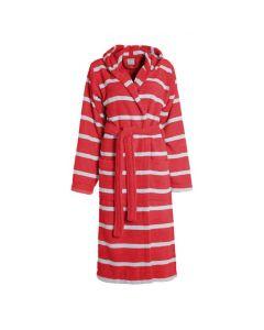 Gestreepte Badjas met capuchon  Seahorse Menton in de kleur rood 100% mooie badstof  katoen