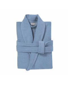 Badjas mooie  velours katoen  Seahorse Pure in de kleur denim blauw