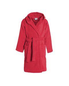 Uni Kinder Badjas met capuchon  Seahorse Pure in de kleur rood  100% mooie velours katoen