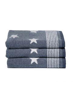 Seahorse Badgoed Stardust, sterren kleur blauw  zachte badstof, badlaken 60x110, 100% katoen
