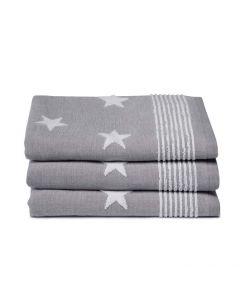 Seahorse Badgoed Stardust, sterren kleur grijs  zachte badstof, badlaken 60x110, 100% katoen